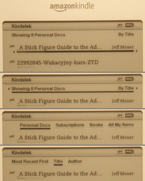 Kindle Filter and Sort