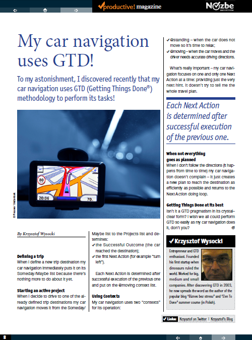 Productive! Magazine GTD Navigation